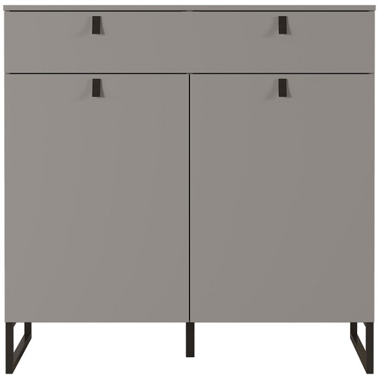 Cancun Wide Shoe Storage Cabinet In Stone Grey Finish_2
