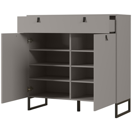 Cancun Wide Shoe Storage Cabinet In Stone Grey Finish_3