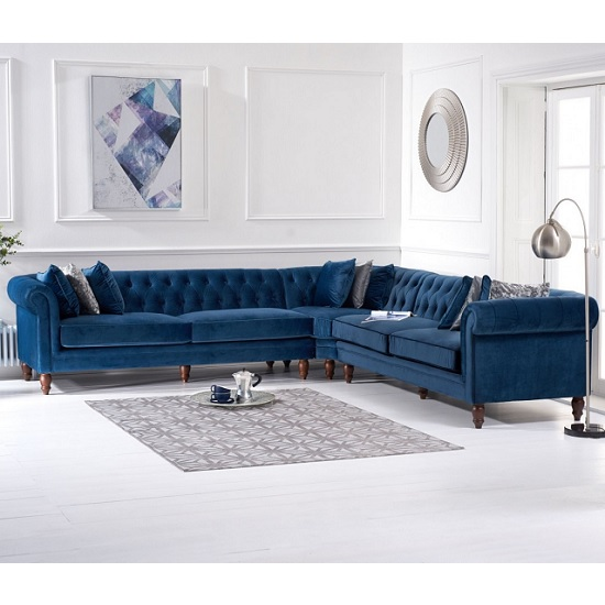 Candela Modern Fabric Corner Sofa In Blue Velvet_1