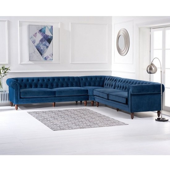 Candela Modern Fabric Corner Sofa In Blue Velvet_2
