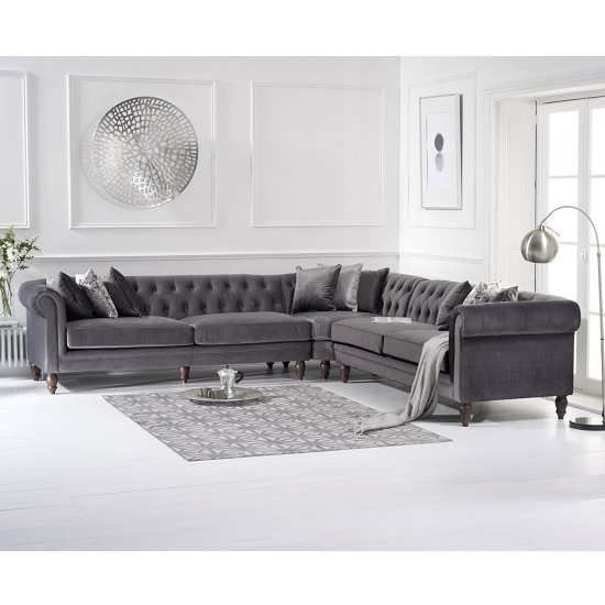 Candela Modern Fabric Corner Sofa In Grey Velvet