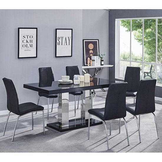 Candice Dining Table In Black Gloss With 6 Black Opal Chairs