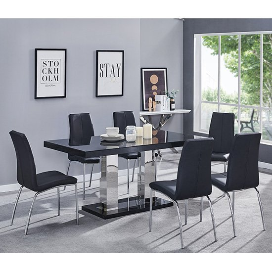 Candice Dining Table In Black Gloss With 6 Grey Opal Chairs