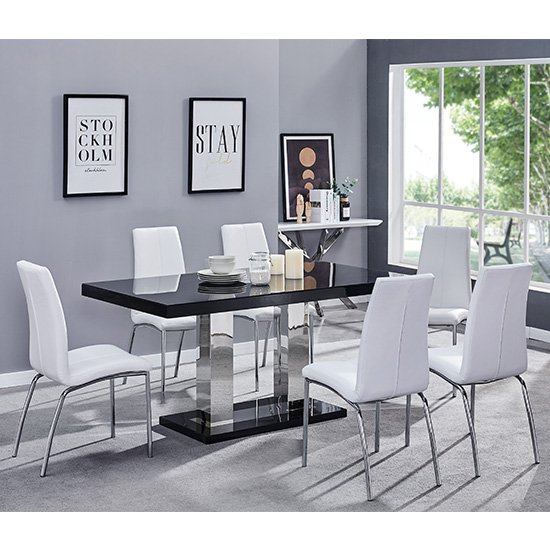 Candice Dining Table In Black Gloss With 6 White Opal Chairs