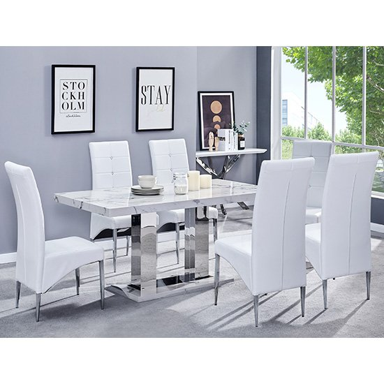 Candice Gloss Dining Table In Diva With 6 White Vesta Chairs