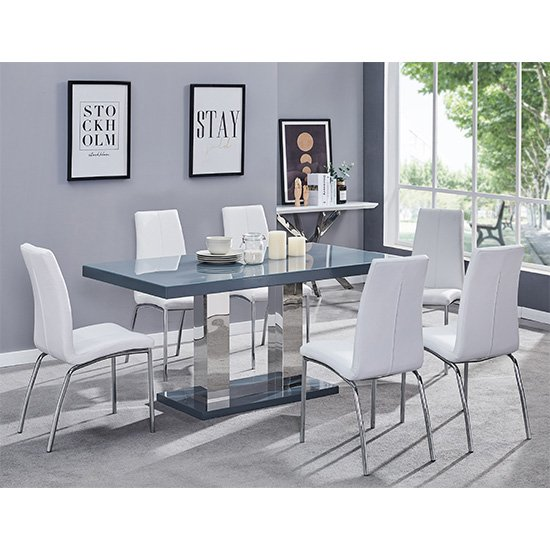 Candice Dining Table In Grey Gloss With 6 White Opal Chairs