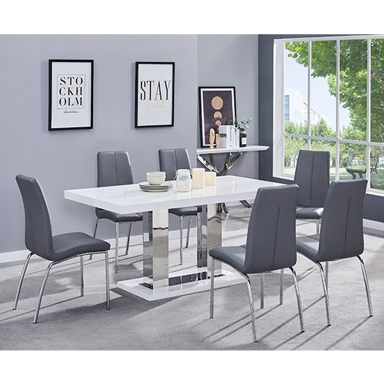 Candice Dining Table In White Gloss With 6 Grey Opal Chairs