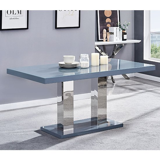 Candice Glass Top Wooden Dining Table In Grey High Gloss