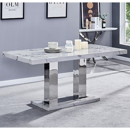 View Candice high gloss dining table in diva marble effect