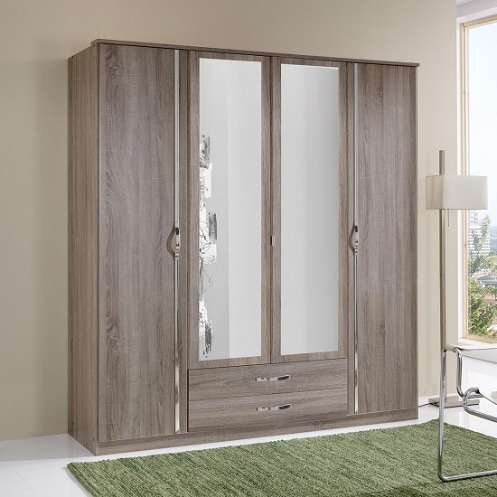 Candice Mirrored Wardrobe In Montana Oak And Chrome With 4 Doors
