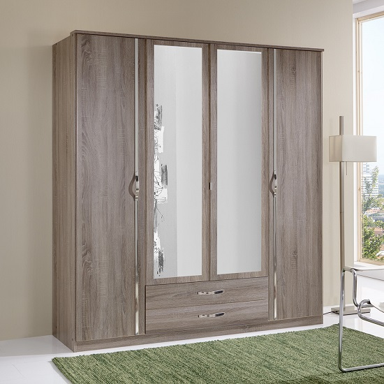 Candice Mirrored Wardrobe In Montana Oak And Chrome With 4 Doors_1