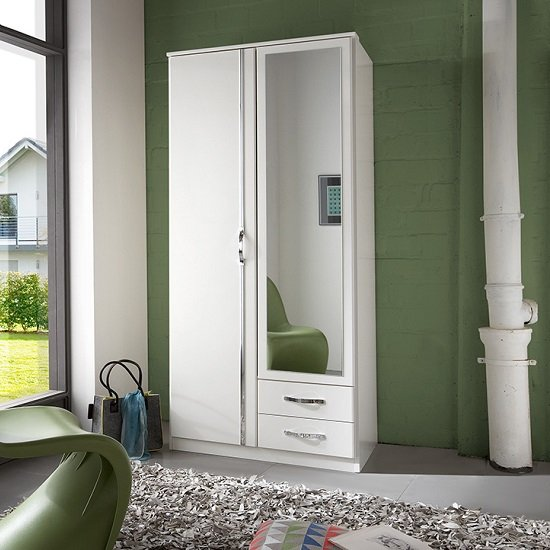 Candice Mirror Wardrobe In Alpine White Chrome With 2 Doors