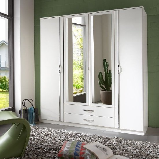 Candice Mirrored Wardrobe In Alpine White With Chrome And 4 Door