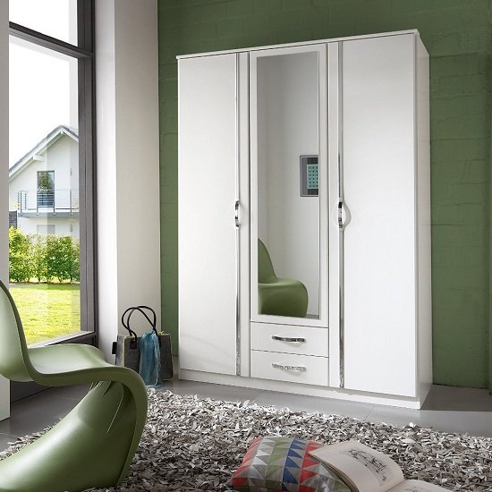 Candice Mirror Wardrobe In Alpine White With Chrome And 3 Doors