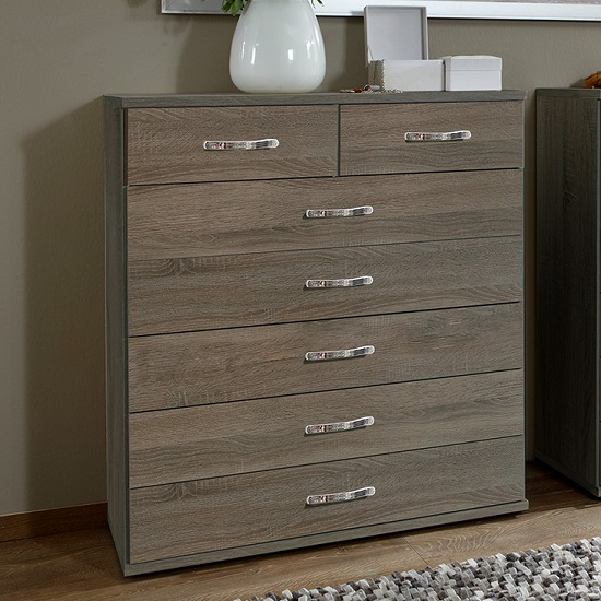 Candice Wide Chest of Drawers In Montana Oak With 7 Drawers