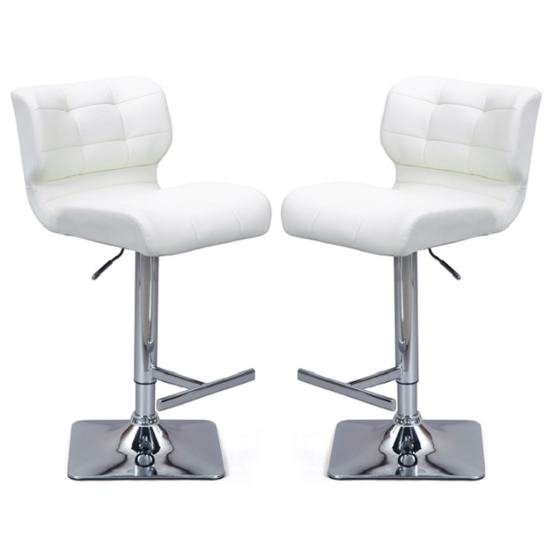 Candid White Faux Leather Bar Stool In Pair With Chrome Base