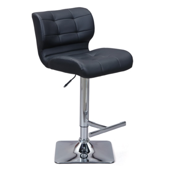 Candid Bar Stool In Black Faux Leather With Chrome Plated Base_1
