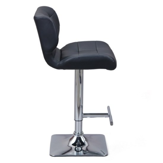 Candid Bar Stool In Black Faux Leather With Chrome Plated Base_2