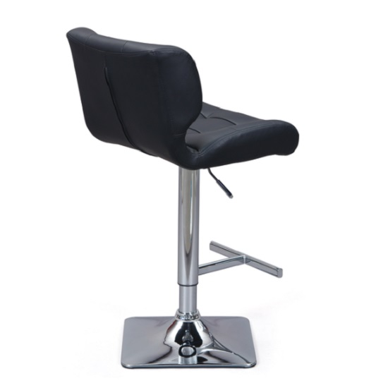Candid Bar Stool In Black Faux Leather With Chrome Plated Base_3