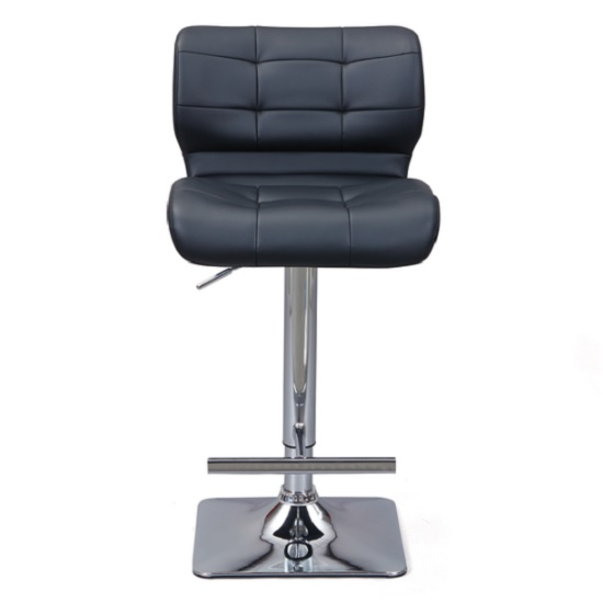 Candid Bar Stool In Black Faux Leather With Chrome Plated Base_4