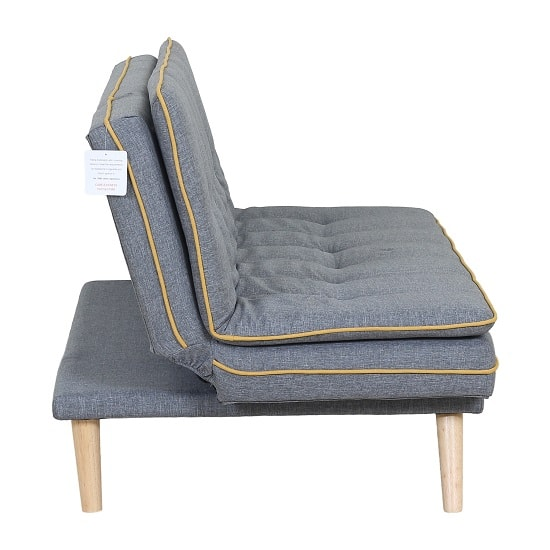 Candy Contemporary Sofa Bed In Grey Fabric With Wooden Legs_3