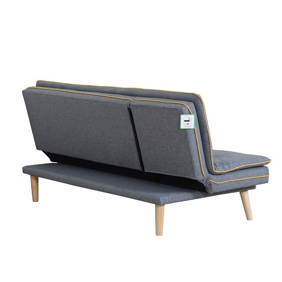 Candy Contemporary Sofa Bed In Grey Fabric With Wooden Legs_4