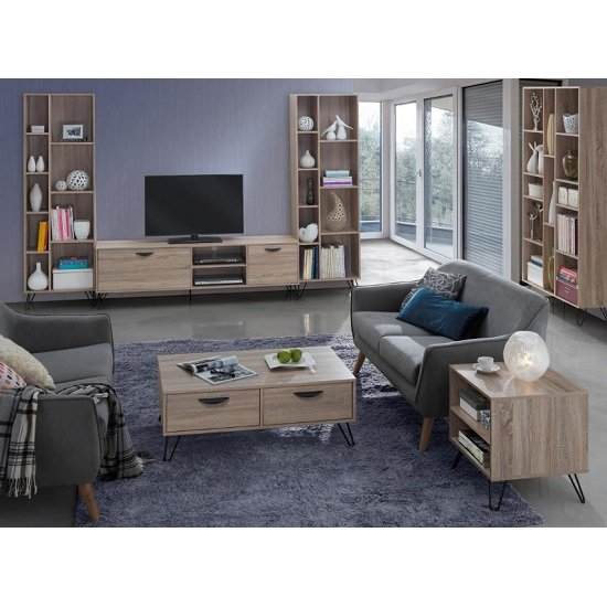 Canell Wooden Tv Stand Large In Oak Effect And Black Metal
