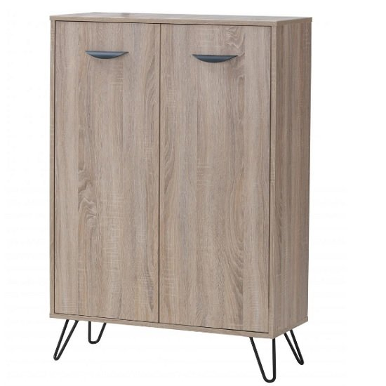 Canell Storage Cabinet In Oak Effect And Black Metal Legs