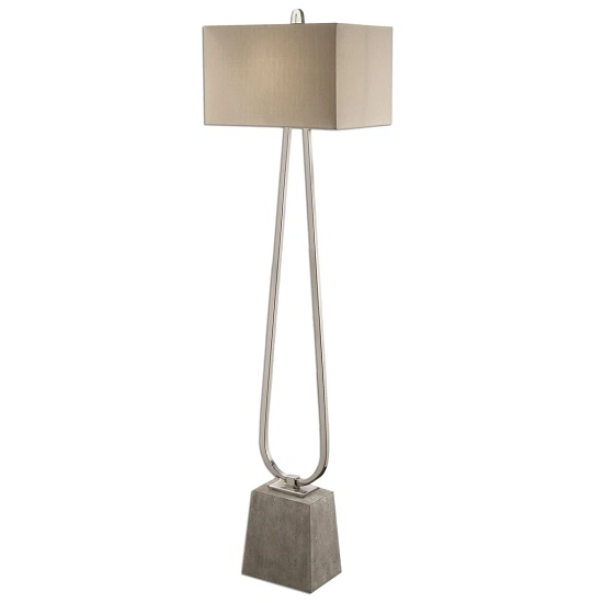 Canelo Floor Lamp In Taupe Bronze Linen Fabric With Metal Base