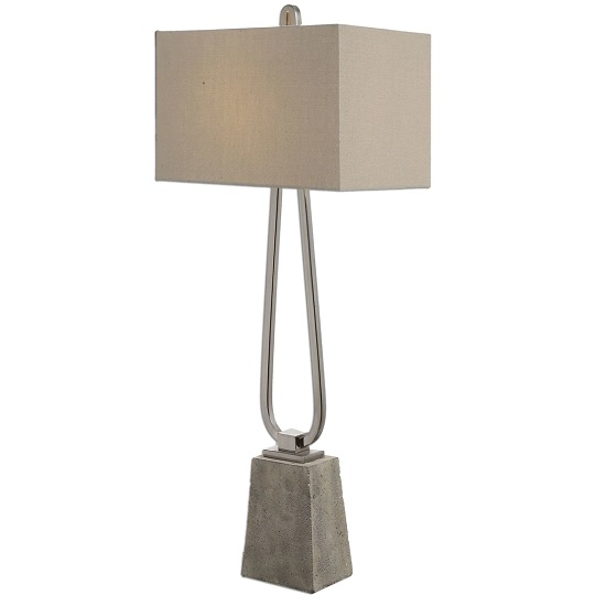 Canelo Table Lamp In Taupe Bronze Linen Fabric With Metal Base