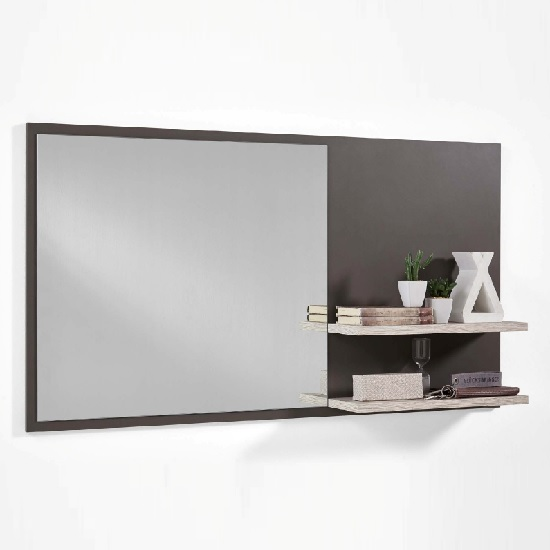 Read more about Canelo wall mirror with shelves in lava and sand oak
