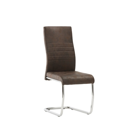 Cannes Dining Chair In Brown Faux Leather With Chrome Base_1
