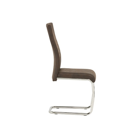 Cannes Dining Chair In Brown Faux Leather With Chrome Base_4