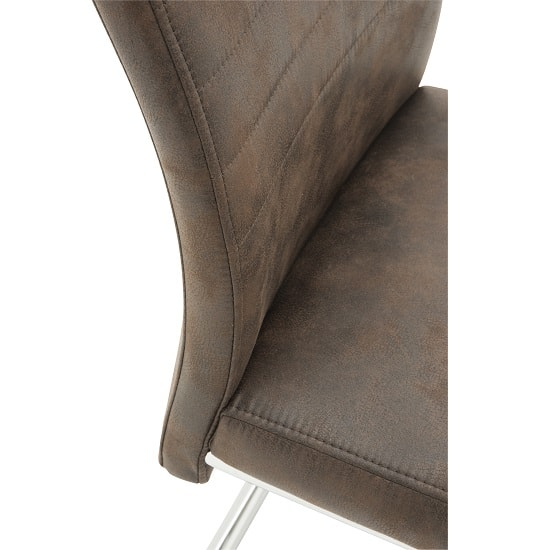 Cannes Dining Chair In Brown Faux Leather With Chrome Base_3