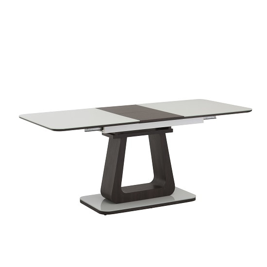 Cannes Extendable Glass Dining Table In White With Cocoa Base