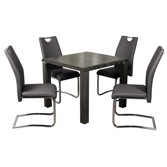 Cannock Charcoal Dining Set With 4 Capella Grey Chairs_1