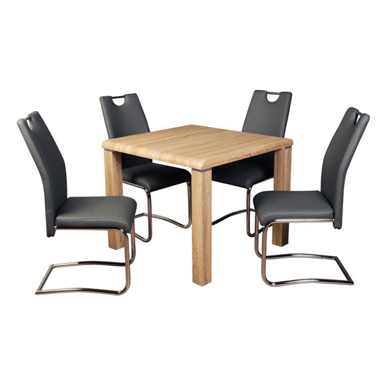 Cannock Somoma Oak Dining Set With 4 Capella Grey Chairs