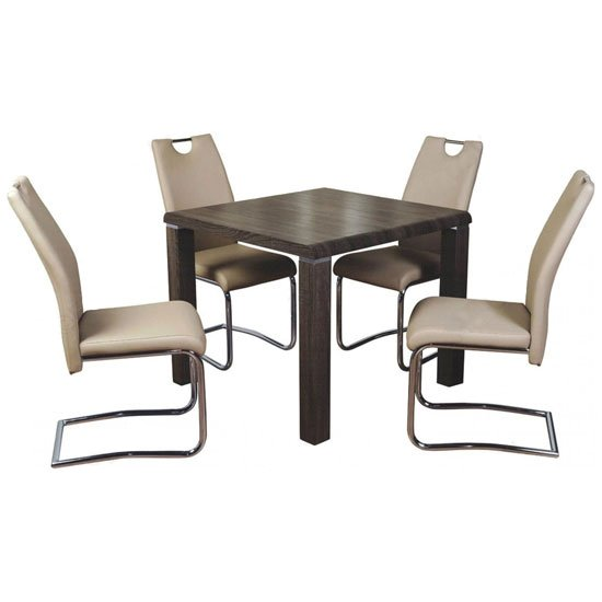 Cannock Gloss Dining Set In Charcoal Gloss With 4 Khaki Chairs