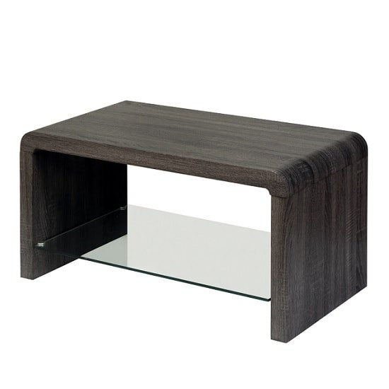 Cannock Wooden Coffee Table In Walnut With Glass Shelf