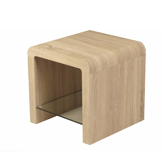 Cannock Wooden End Table Square In Sonoma Oak