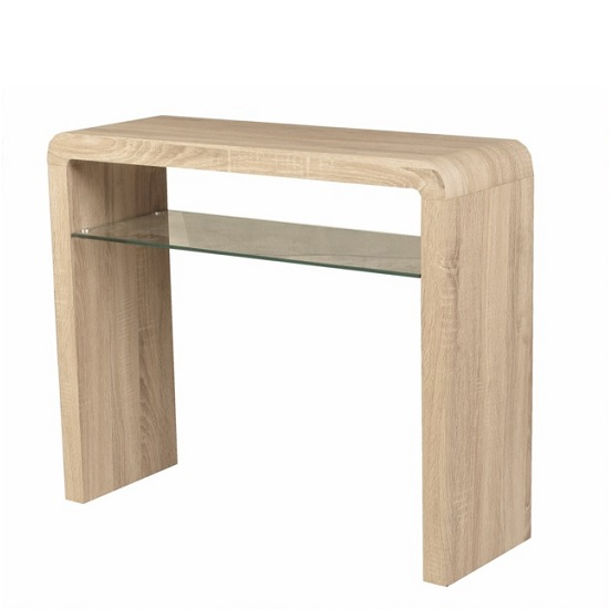 Cannock Wooden Medium Conole Table In Sonoma Oak And Glass Shelf