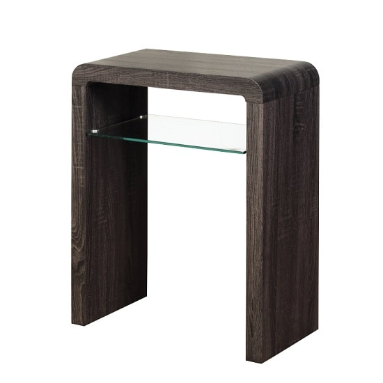 Cannock small console table in walnut with 1 glass shelf for Small console table with shelf