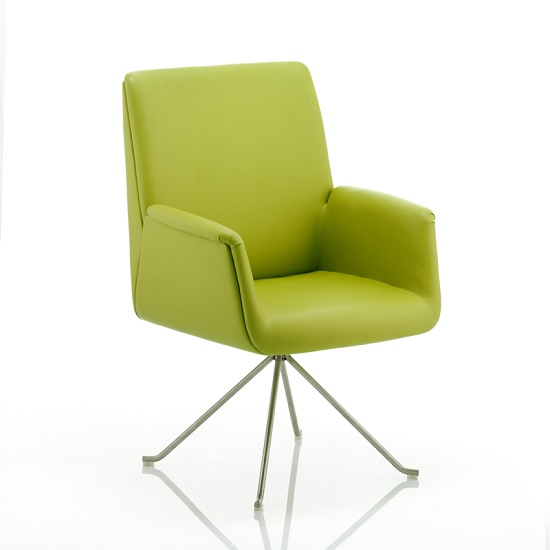 Cannon Visitor Office Chair In Green With Chrome Legs