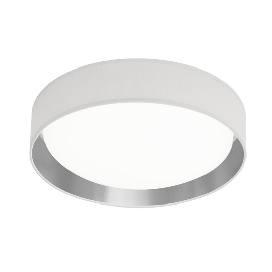 Canopus 1 Light LED Flush Ceiling Light In White Fabric Shade
