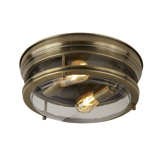Canopus 2 Lights Flush Ceiling Light In Antique Brass