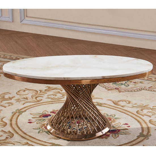 Canora Marble Effect Coffee Table In White With Rosegold Base