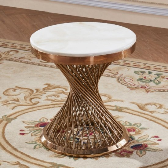 Canora Marble Effect Lamp Table In White With Rosegold Base_1
