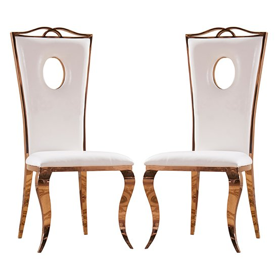 Canora White PU Dining Chairs With Rose Gold Legs In Pair