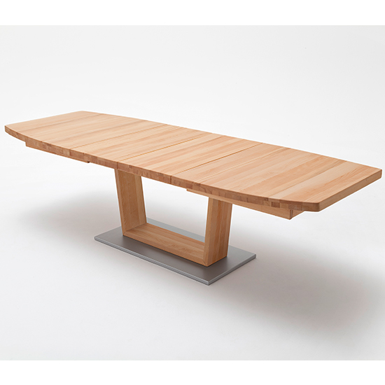 Cantania Extending Boat Shaped V-Leg Dining Table In Beech