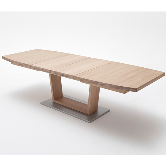 Cantania Extending Boat Shaped V-Leg Dining Table In Bianco Oak